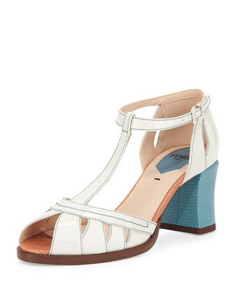 Chameleon Patent T-Strap 65mm Sandal, Milk/Riviera/Blush