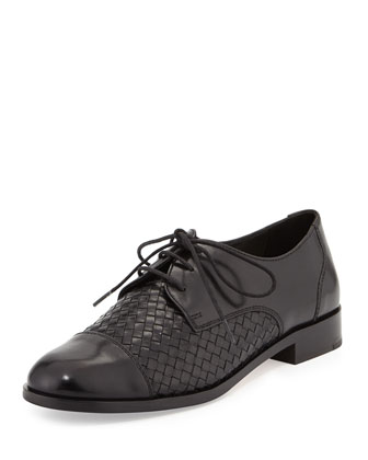 Jagger Woven Leather Oxford, Black