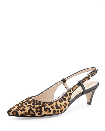 Juliana Calf-Hair Slingback Pump, Ocelot
