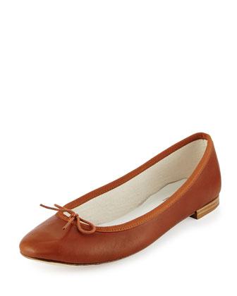 Cendrillon Leather Ballet Flat, Cognac