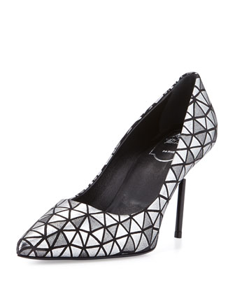 Decollete Prismick Leather Pump, Silver