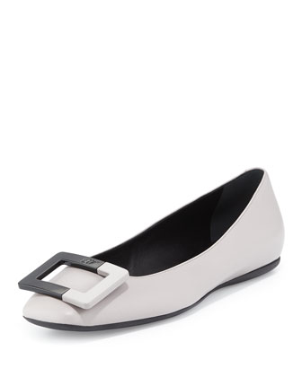 Leather Ballerine Gum Flat, Gray