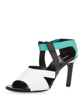 Cindy Stamped Colorblock Sandal, Turquoise