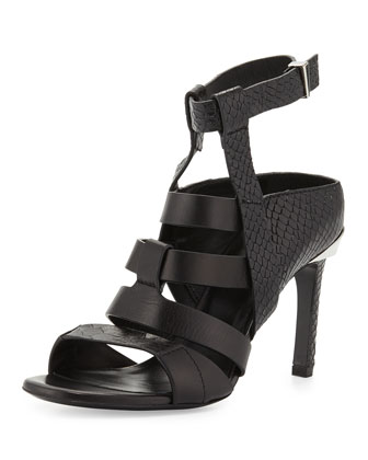 Georgia Lizard-Embossed Sandal, Black
