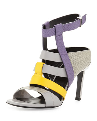 Georgia Colorblock Leather Sandal, Lilac