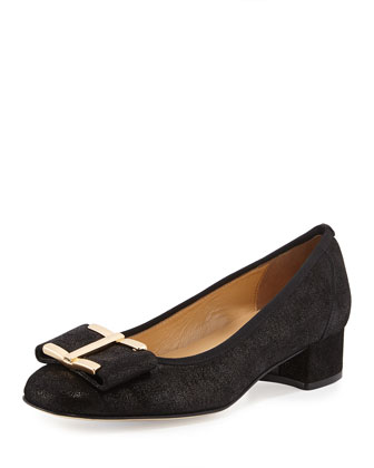 Ramie Printed Block-Heel Pump, Black