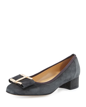 Ramie Block-Heel Bow Pump, Dark Gray
