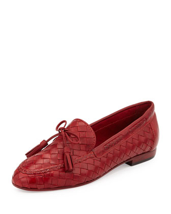 Nicole Woven Leather Loafer, Red