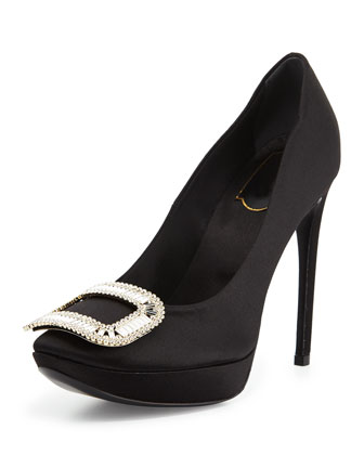 Limelight Choc Satin Platform Pump, Black