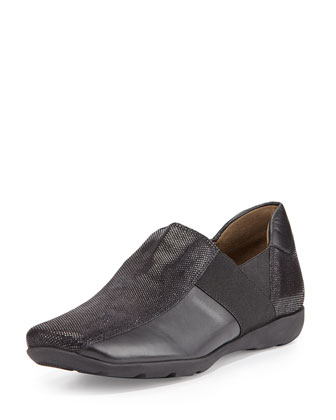 Geneva Leather Slip-On Sneaker, Black