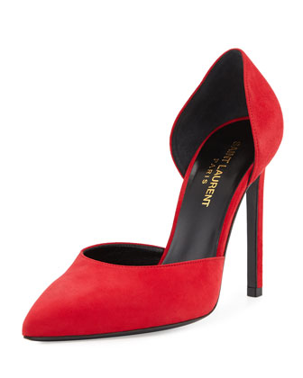 Suede d'Orsay Pump, Red