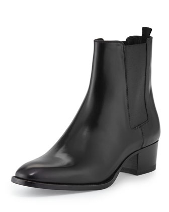 Gored Leather Ankle Bootie, Black