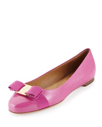 Varina Patent Bow Ballerina Flat, Anemone