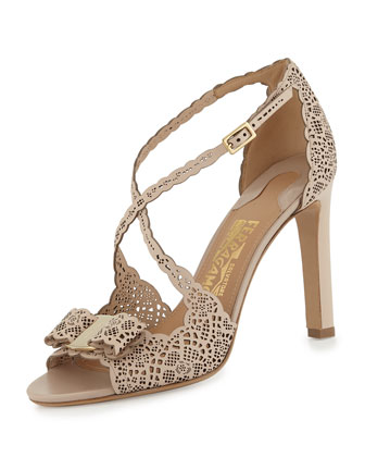 Gabrielle Laser-Cut Leather Sandal, Macadamia