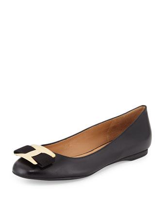 Ninna Leather Bow Flat, Black (Nero)
