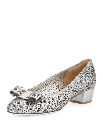 Vara Laser-Cut Leather Bow Pump, Moon