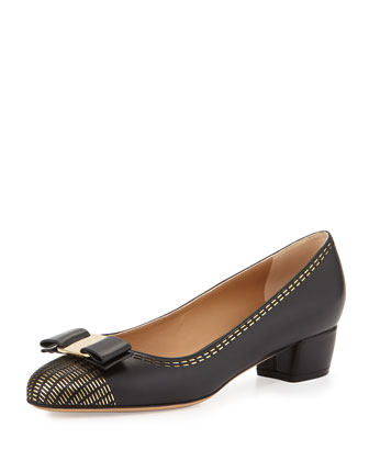 Vara Stitch Leather Bow Pump, Nero