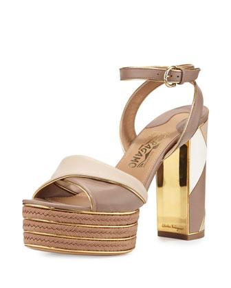 Gaga Patchwork Leather Platform Sandal, Nutmeg