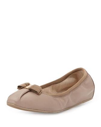 My Joy Matte Leather Ballerina Flat, Nutmeg