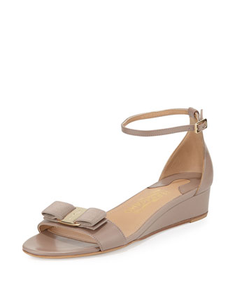 Margot Bow Demi-Wedge Sandal, Nutmeg
