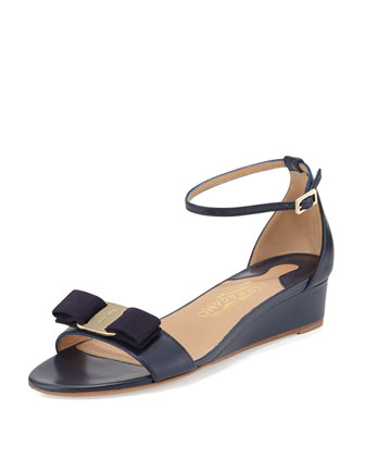 Margot Bow Demi-Wedge Sandal, Oxford Blue