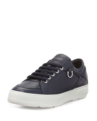 Globe Leather Lace-Up Sneaker, Blue Marine
