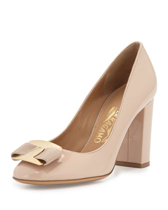 Ninna Patent Leather Bow Pump, New Bisque