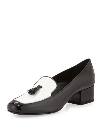 Patent Leather Tassel Loafer, Black/White