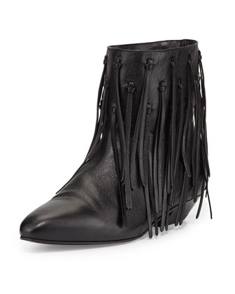 Knot-Fringed Leather Bootie, Black