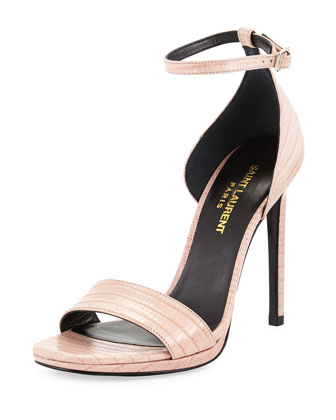 Lizard-Embossed d'Orsay Sandal, Rose