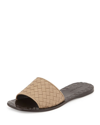 Napa Intrecciato Sandal Slide, Toffee