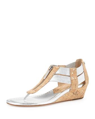 Dori Distressed-Cork Sandal, Silver/Natural