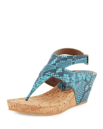 Gilee Snake-Embossed Leather Wedge Sandal, Turquoise