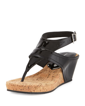 Gilee Patent Leather Wedge Sandal, Black