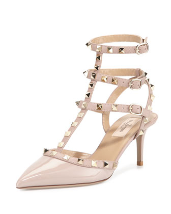 Rockstud Patent Leather Sandal, Powder (Poudre)