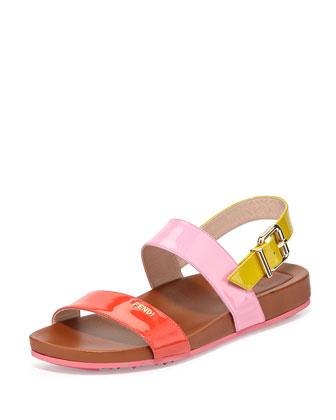Tricolor Double-Band Flat Patent Sandal, Poppy/Lollipop