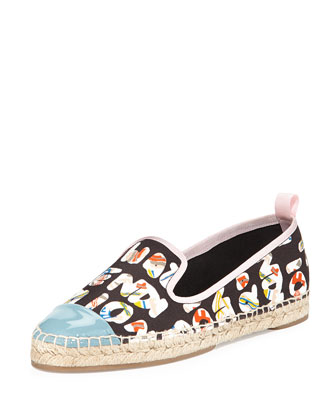Logo-Print Canvas Espadrille, Black/Multi/River
