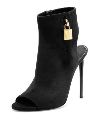 Open-Toe Suede Ankle-Lock Bootie, Black