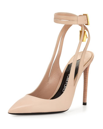 Leather Ankle-Lock 105mm Pump, Nude