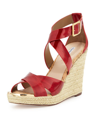 Olympia Patent Leather Espadrille Braided Wedge Sandal, Red