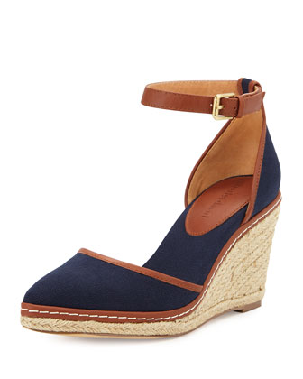 Keiko Closed-Toe Canvas Espadrille Wedge, Navy