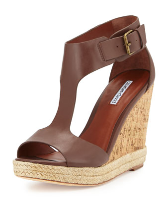 Olivia Leather T-Strap Wedge W/Jute Trim, Dark Brown