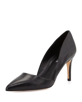 Lulu Pointed-Toe Leather d'Orsay Pump, Black