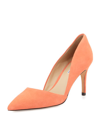 Lulu Pointed-Toe Leather d'Orsay Pump, Coral