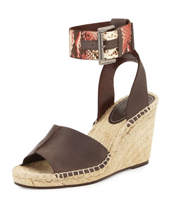 Ofilia Snake-Embossed Ankle Strap Wedge Sandal, Brown/Red