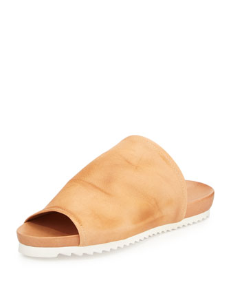 Dante Open-Toe Leather Slide Sandal, Burnished Tan