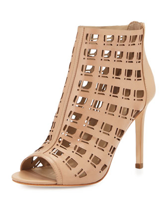 Iva Open-Toe Leather Bootie W/Cutouts, Nude