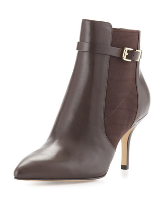 Woods Leather Ankle Bootie, Dark Chocolate