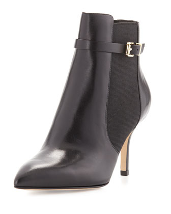 Woods Leather Ankle Bootie, Black
