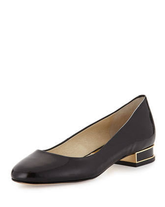 Joy Patent Block-Heel Pump, Black